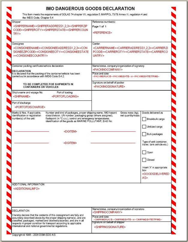Dgd form for Dangerous goods certificate template